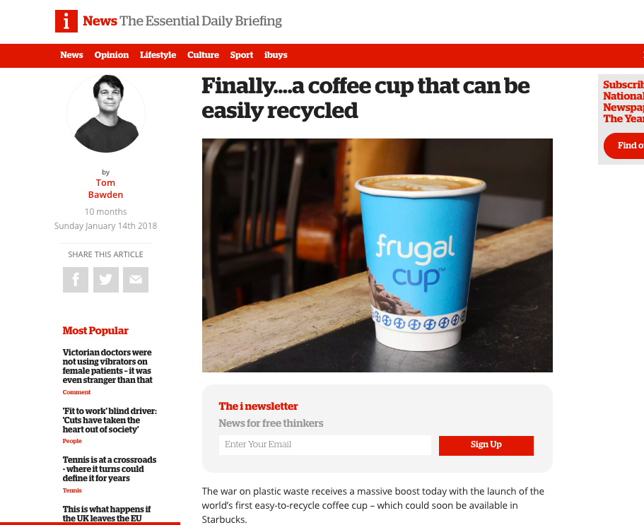 The i welcomes the Frugal Cup